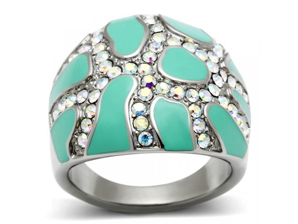 damsky ocelovy prsten s krystalmi sr0507