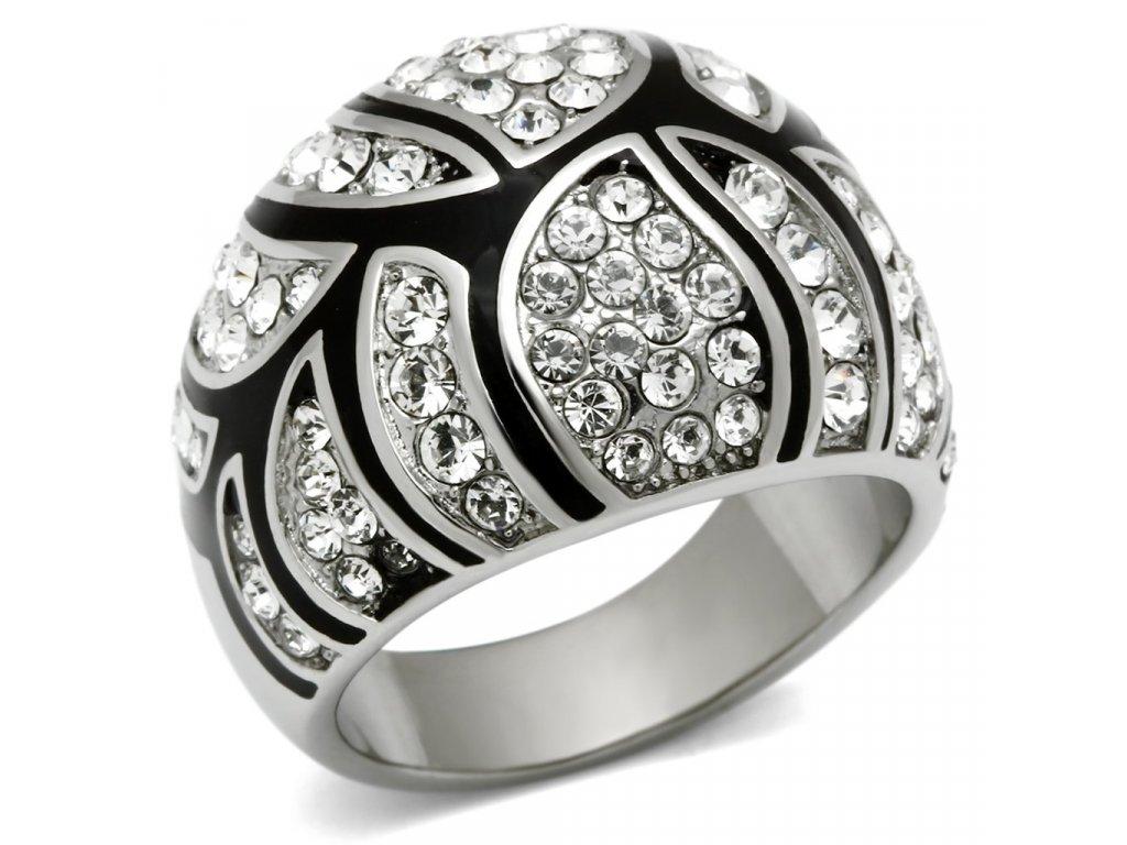 damsky ocelovy prsten s krystalmi sr0517