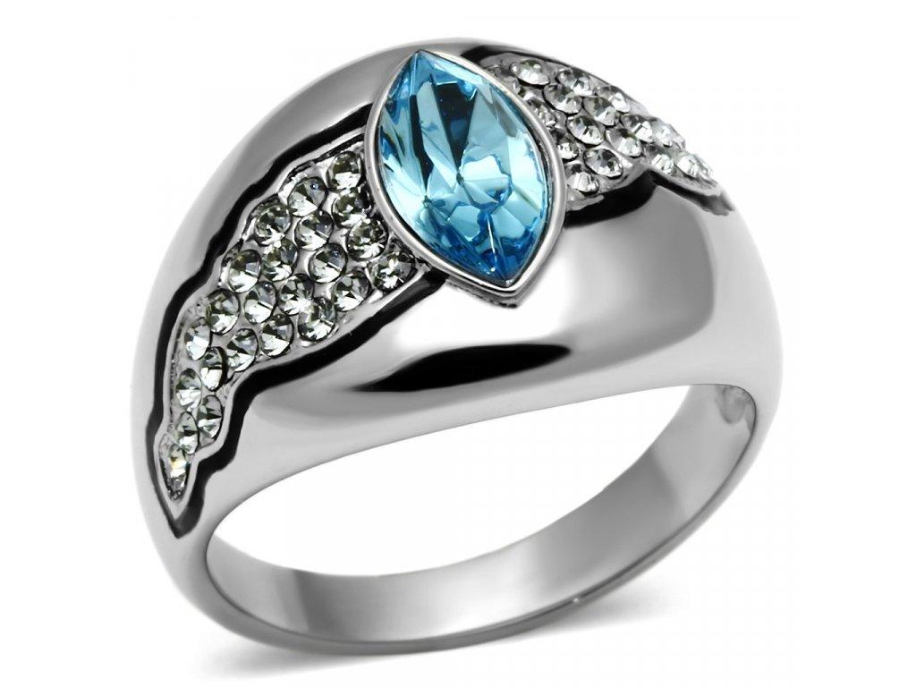 damsky ocelovy prsten modry sr0659