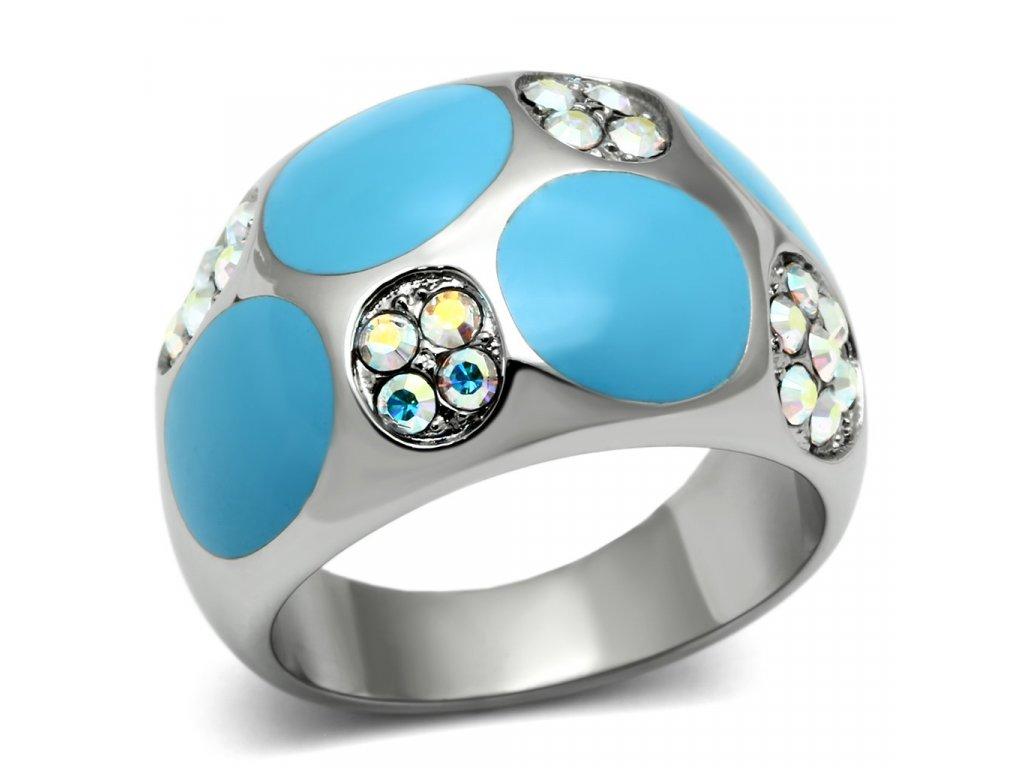 damsky ocelovy prsten s krystalmi sr0687