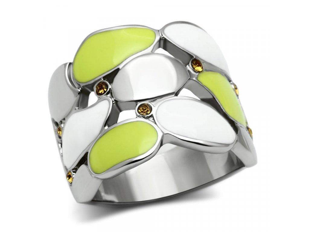 damsky ocelovy prsten s krystalmi sr0693