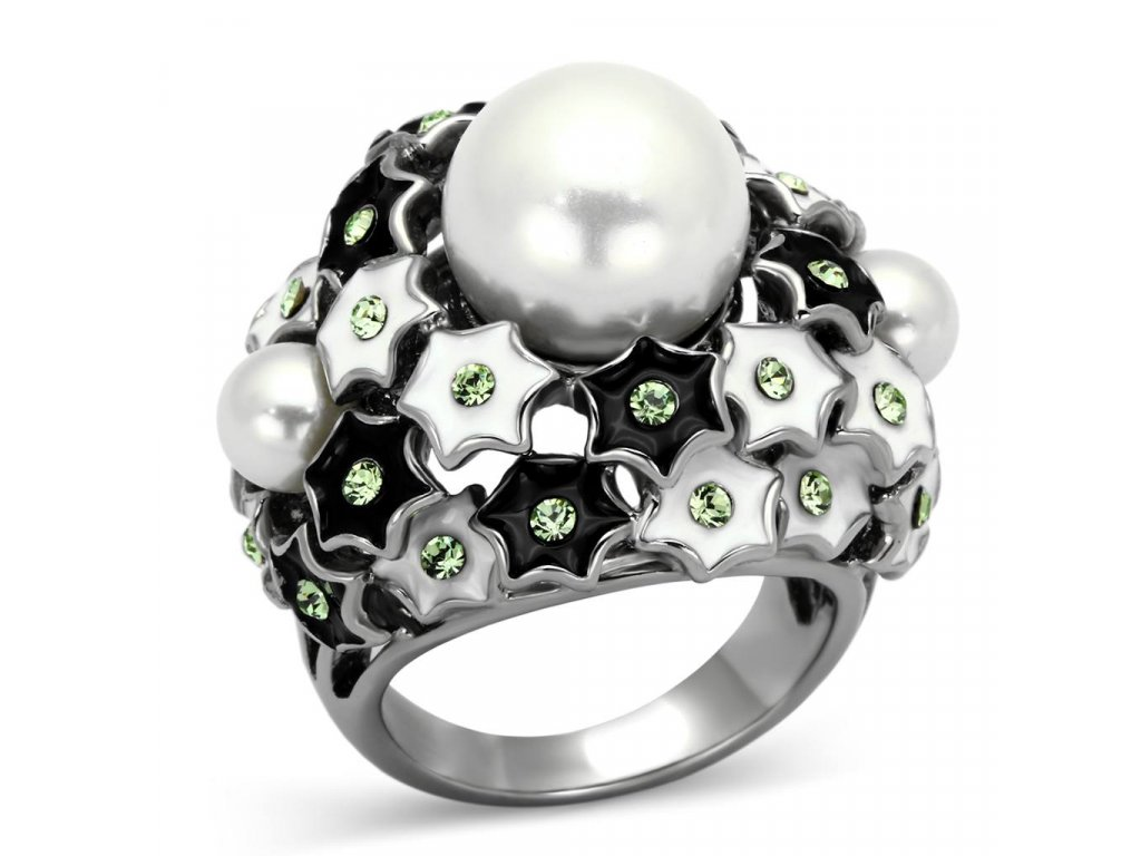 damsky ocelovy prsten s krystalmi sr0818