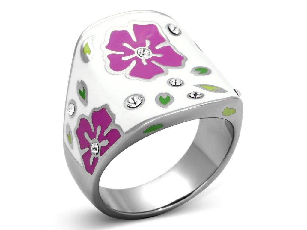 damsky ocelovy prsten s krystalmi sr0830