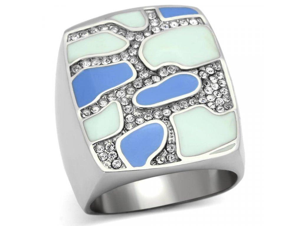 damsky ocelovy prsten s krystalmi sr0832