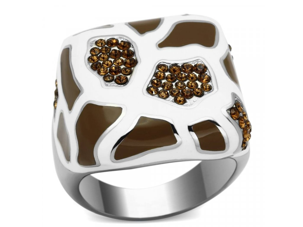damsky ocelovy prsten s krystalmi sr0847