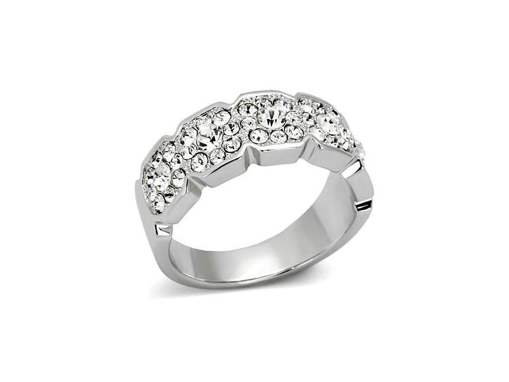 damsky ocelovy prsten s krystalmi sr0860