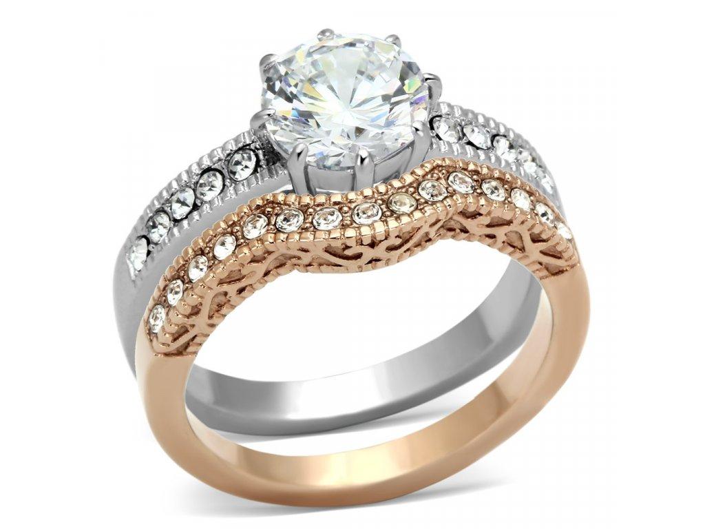 Dámsky prsteň z ušľachtilej ocele zdobený zirkónom, dvojdielny Sr 0966