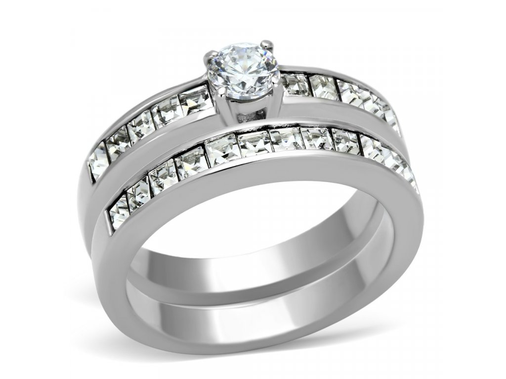 damsky dvojdielny ocelovy prsten so zirkonom sr0972