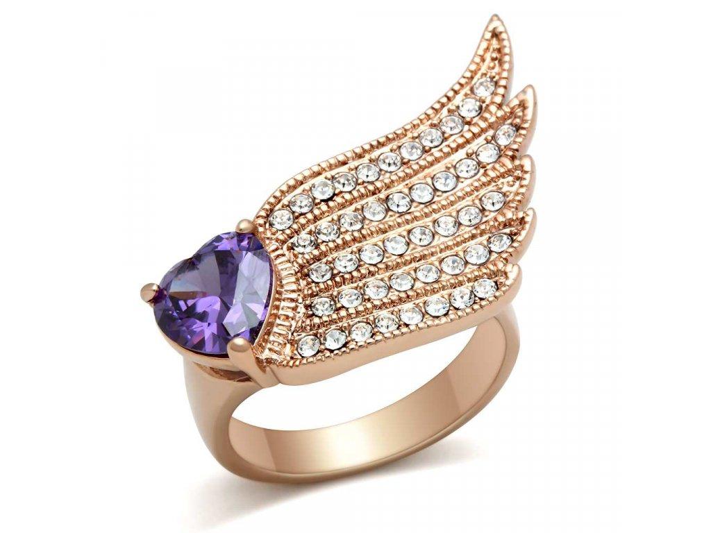 ruzovo zlaty prsten so zirkonmi bs151