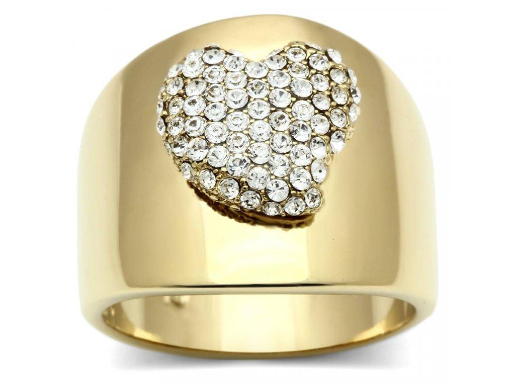 zlaty prsten s krystalmi srdce bs293
