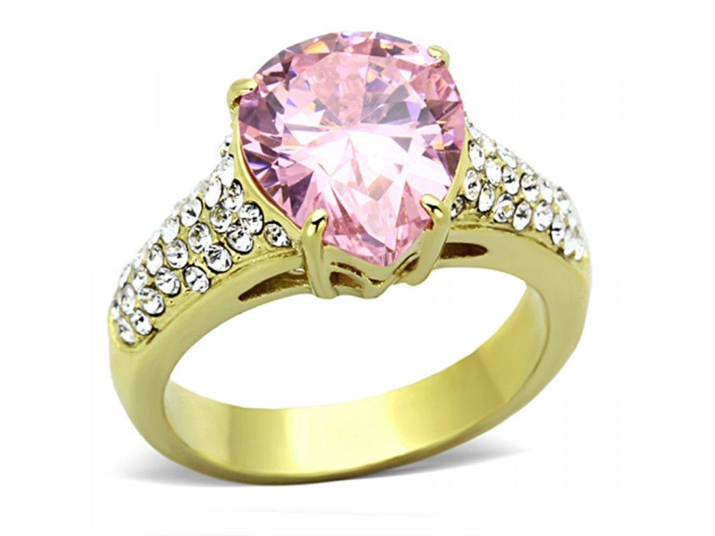 zlaty ocelovy prsten so zirkonom sr1098