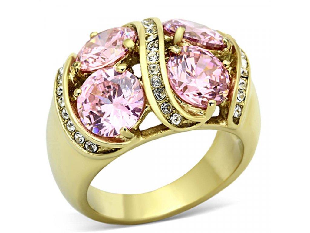 zlaty ocelovy prsten so zirkonmi sr1099