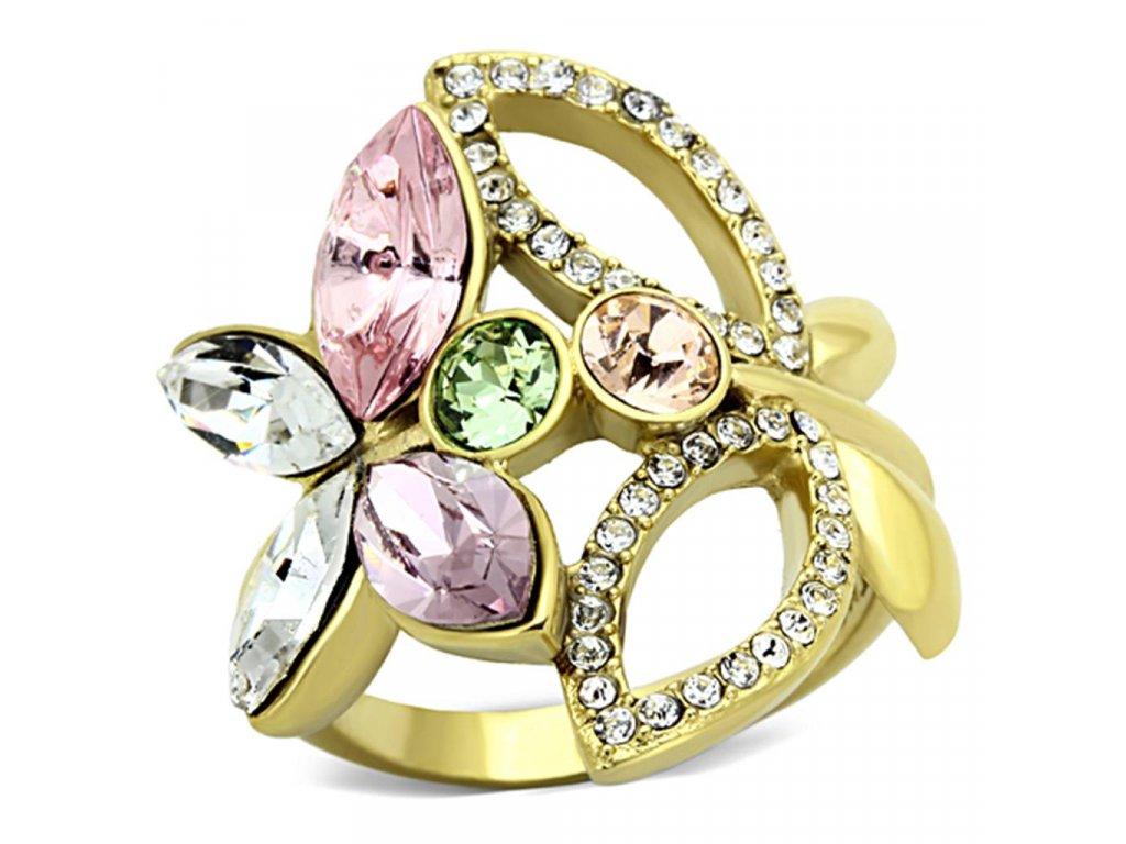 zlaty ocelovy prsten so zirkonmi sr1100