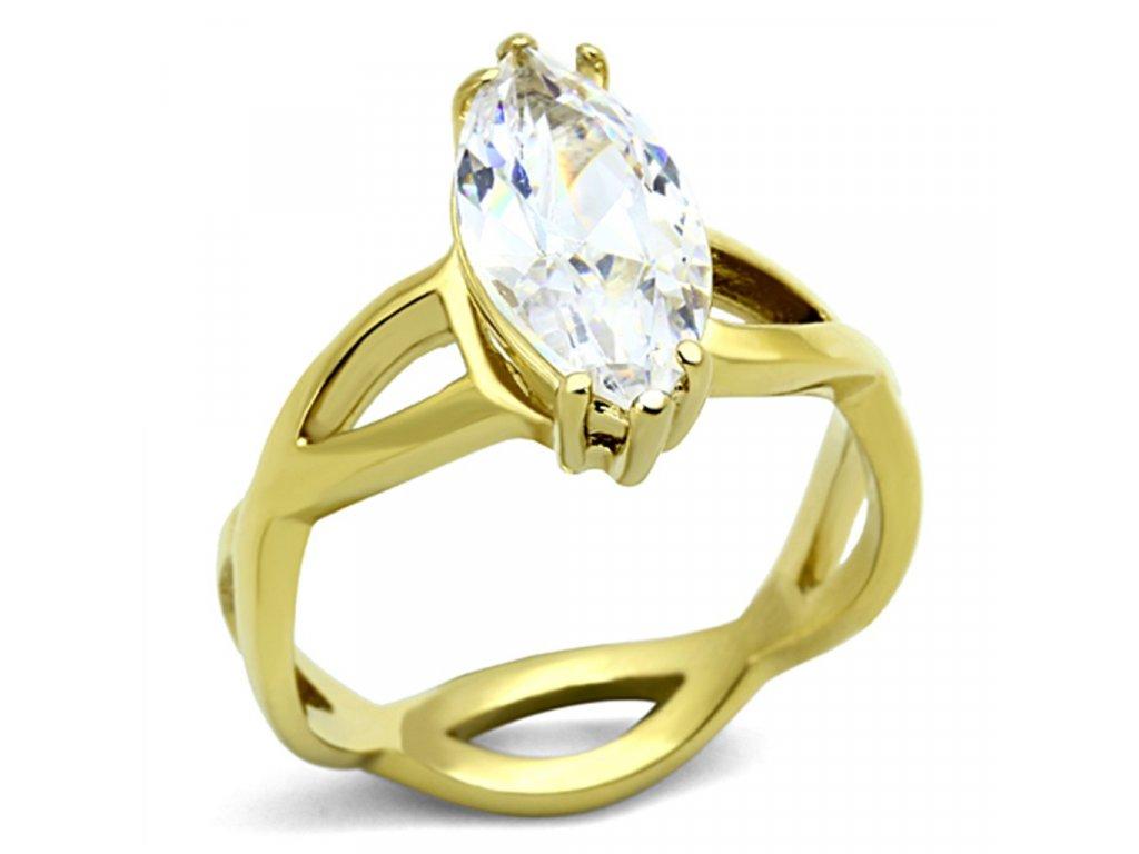 zlaty ocelovy prsten so zirkonom sr1106