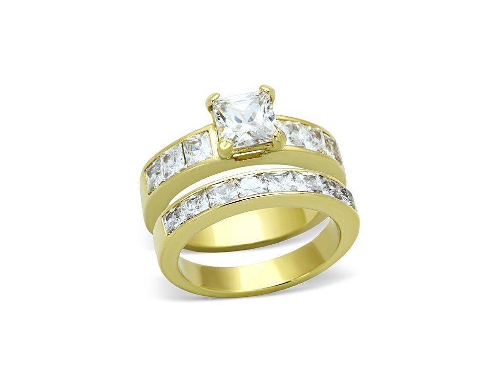 ocelovy zlaty prsten so zirkonmi sr61206g