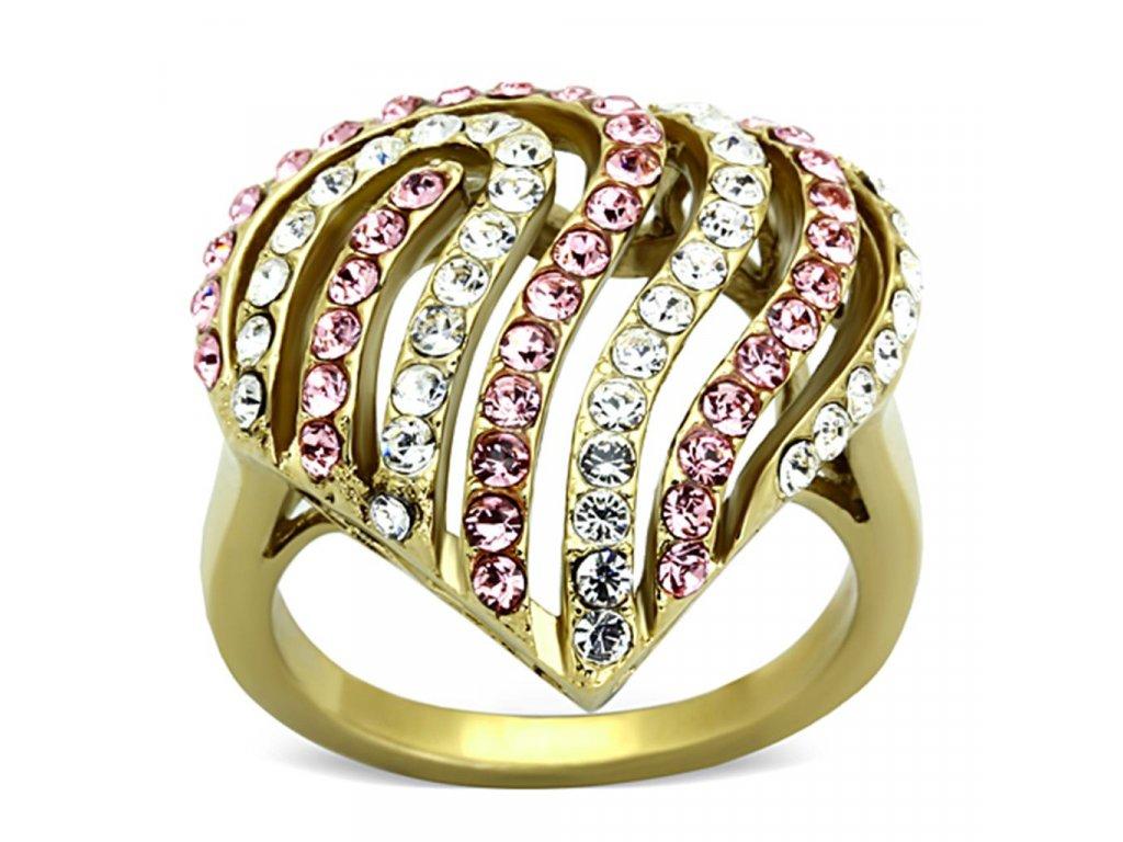 ocelovy zlaty prsten srdce sr1287