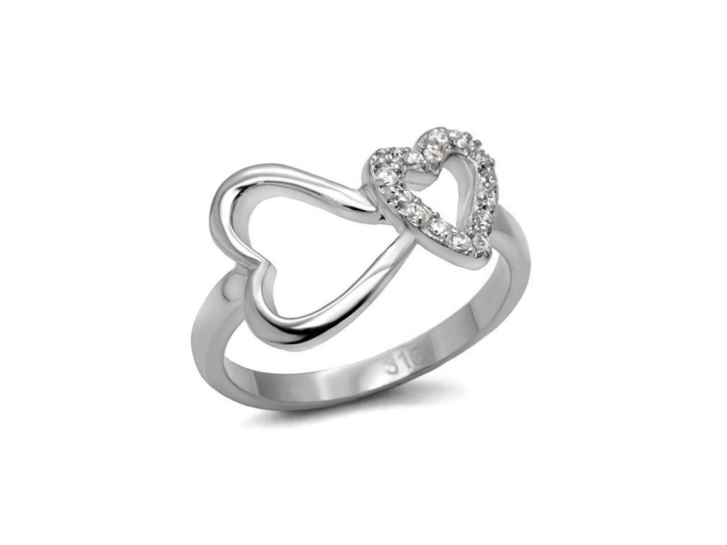 ocelovy prsten srdiecka sr0077