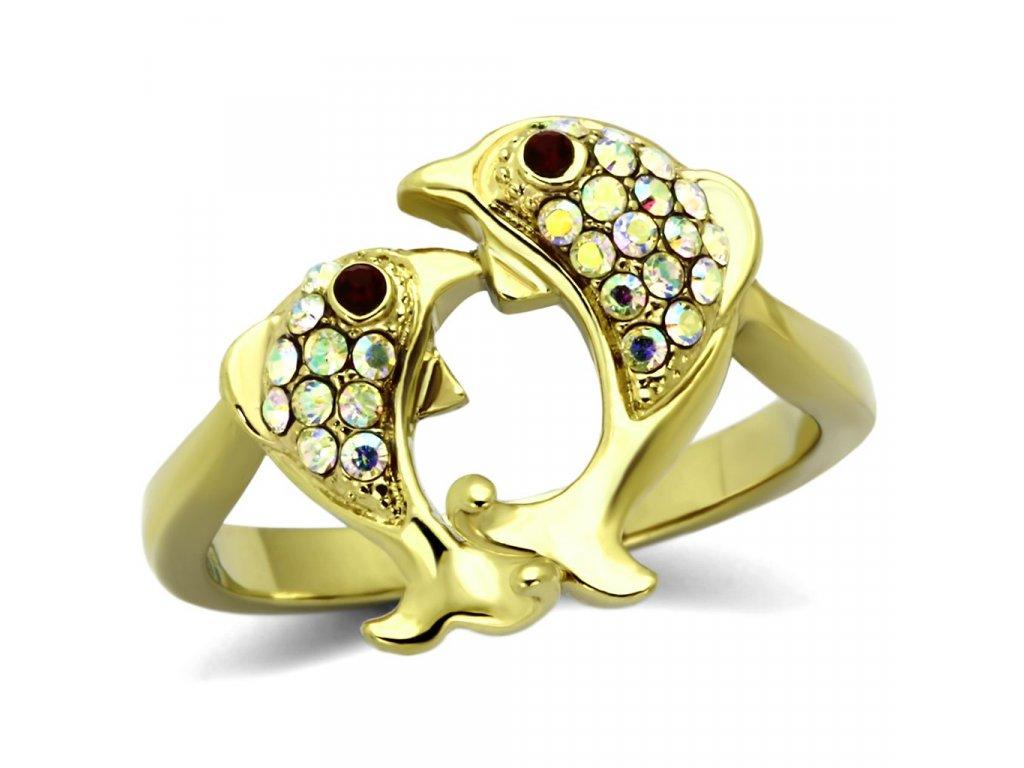 ocelovy zlaty prsten delfin sr1023