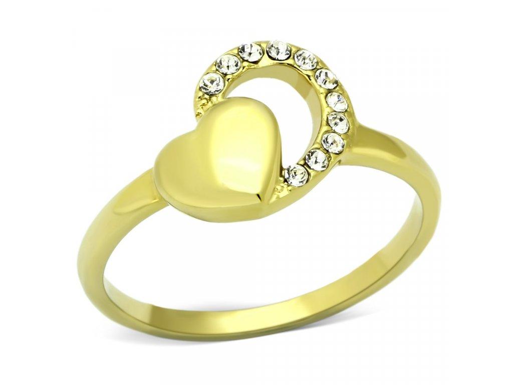 ocelovy zlaty prsten srdce sr1024