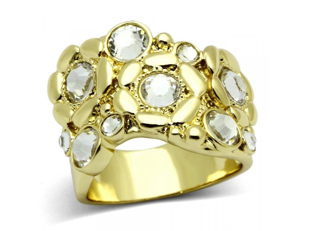 ocelovy prsten s krystalmi sr0856