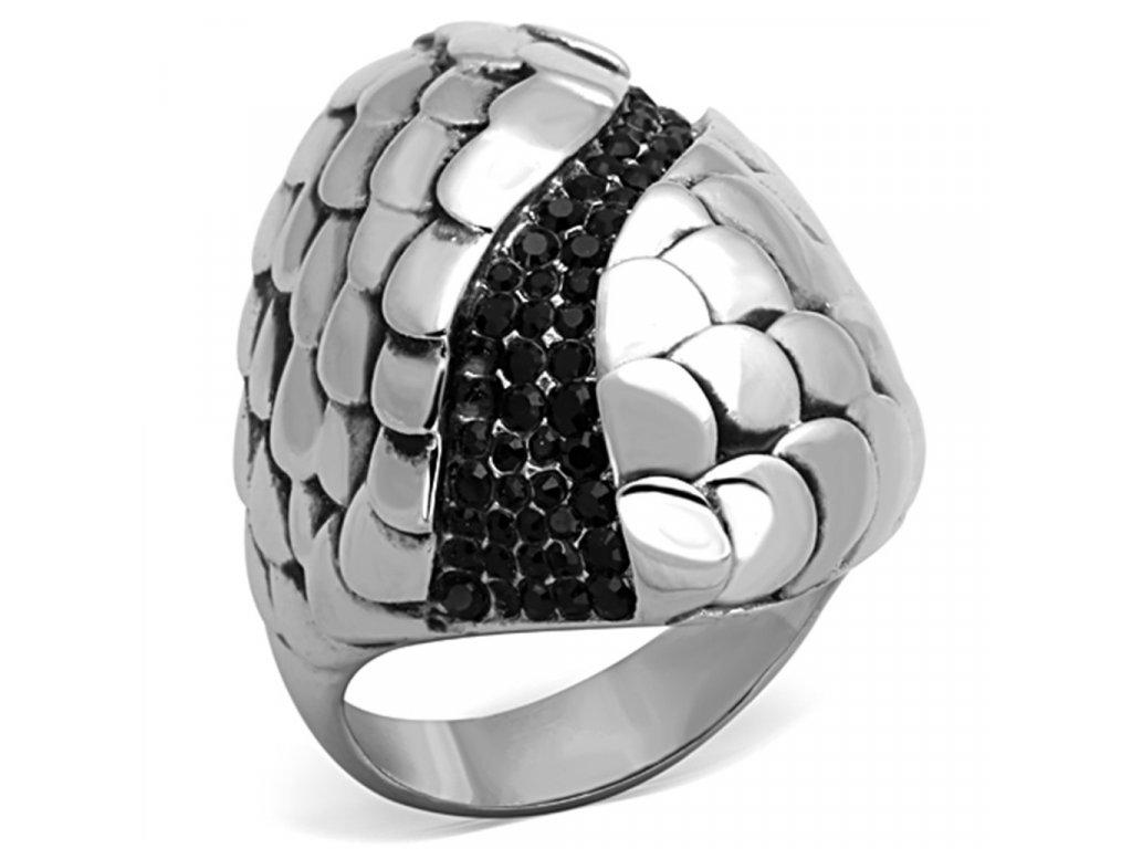 ocelovy prsten s krystalmi sr1327