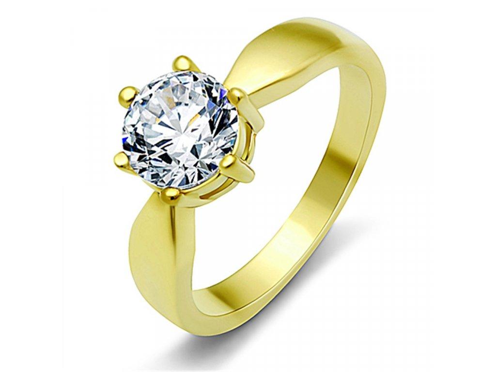 ocelovy prsten zlaty so zirkonom sr0071g