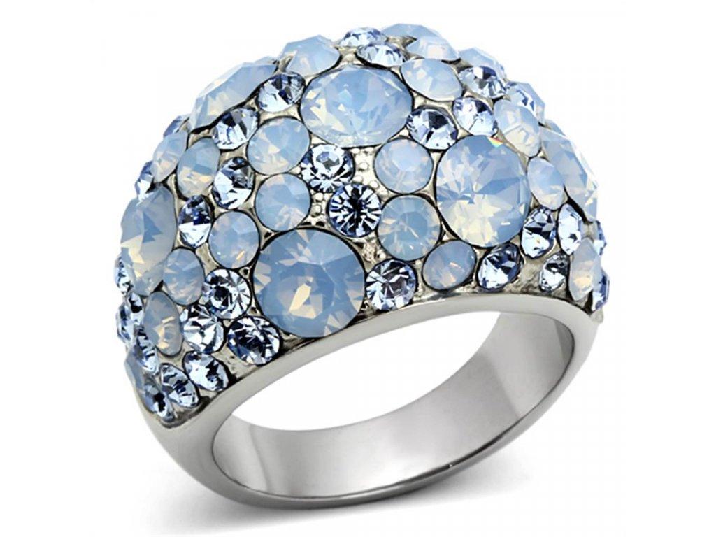 ocelovy prsten s krystalmi sr1147