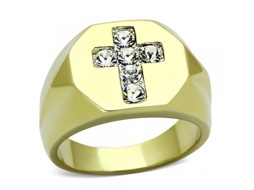 ocelovy prsten zlaty sr1062