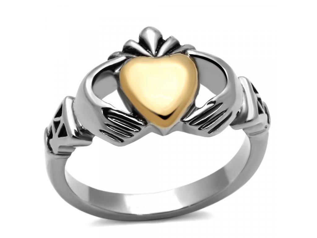 ocelovy prsten cladddagh sr1157