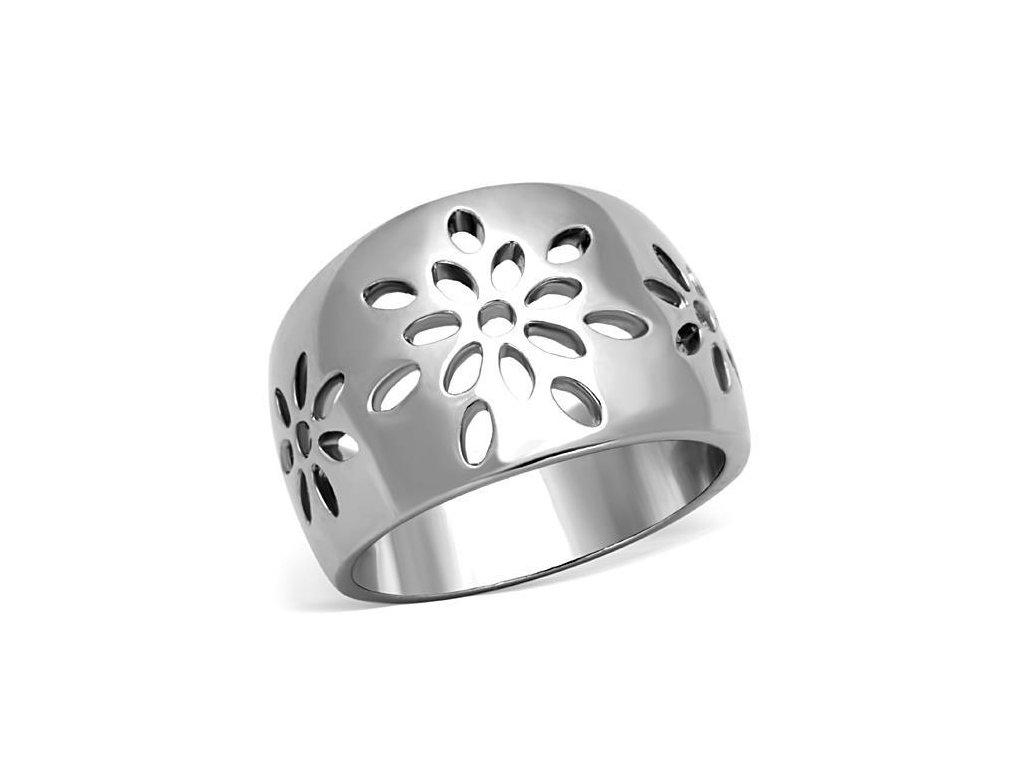 ocelovy prsten kvety sr1684