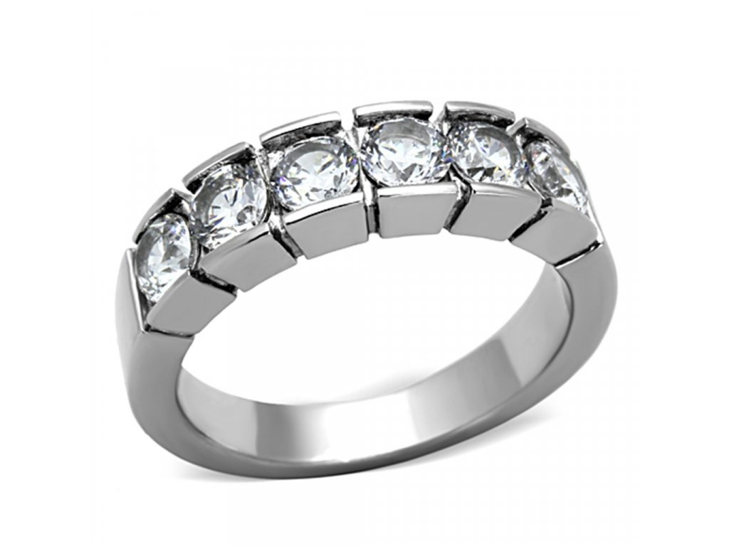 ocelovy prsten s krystalmi sr1082