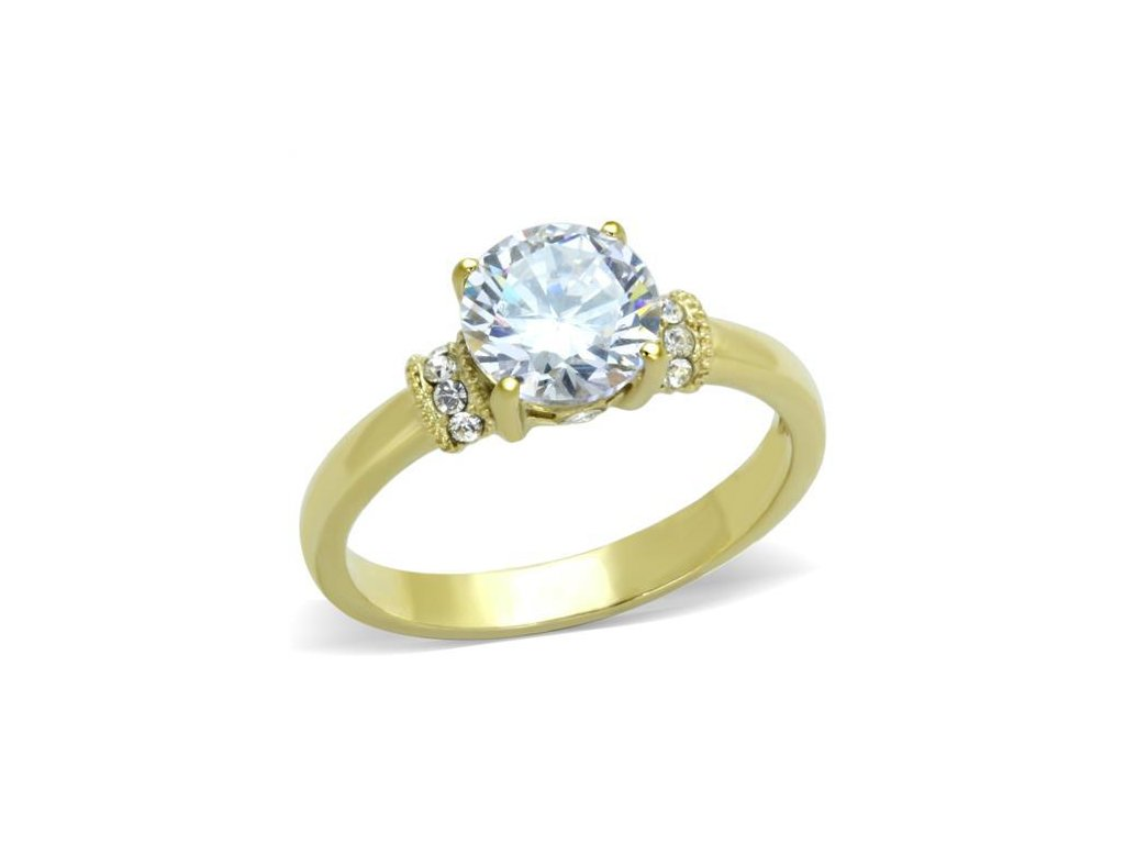damsky zlaty ocelovy prsten so zirkonom sr1877