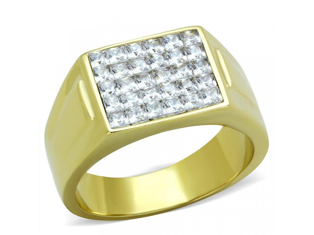 zlaty ocelovy prsten so zirkonmi sr2048