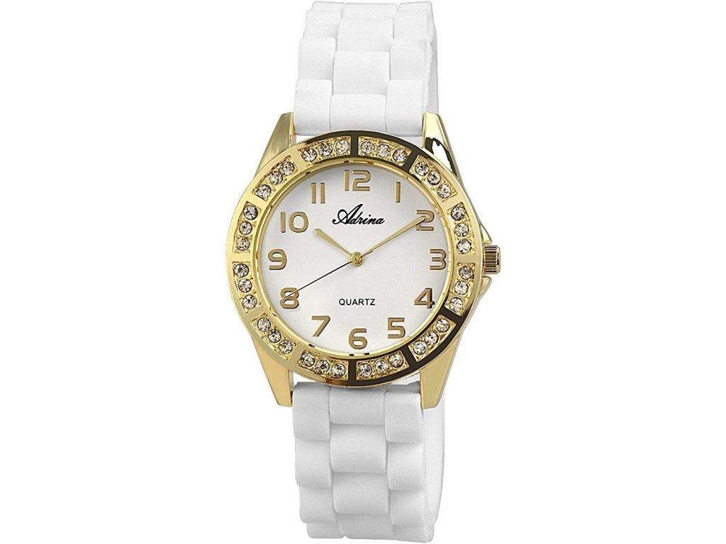 damske silikonove hodinky adrina biele