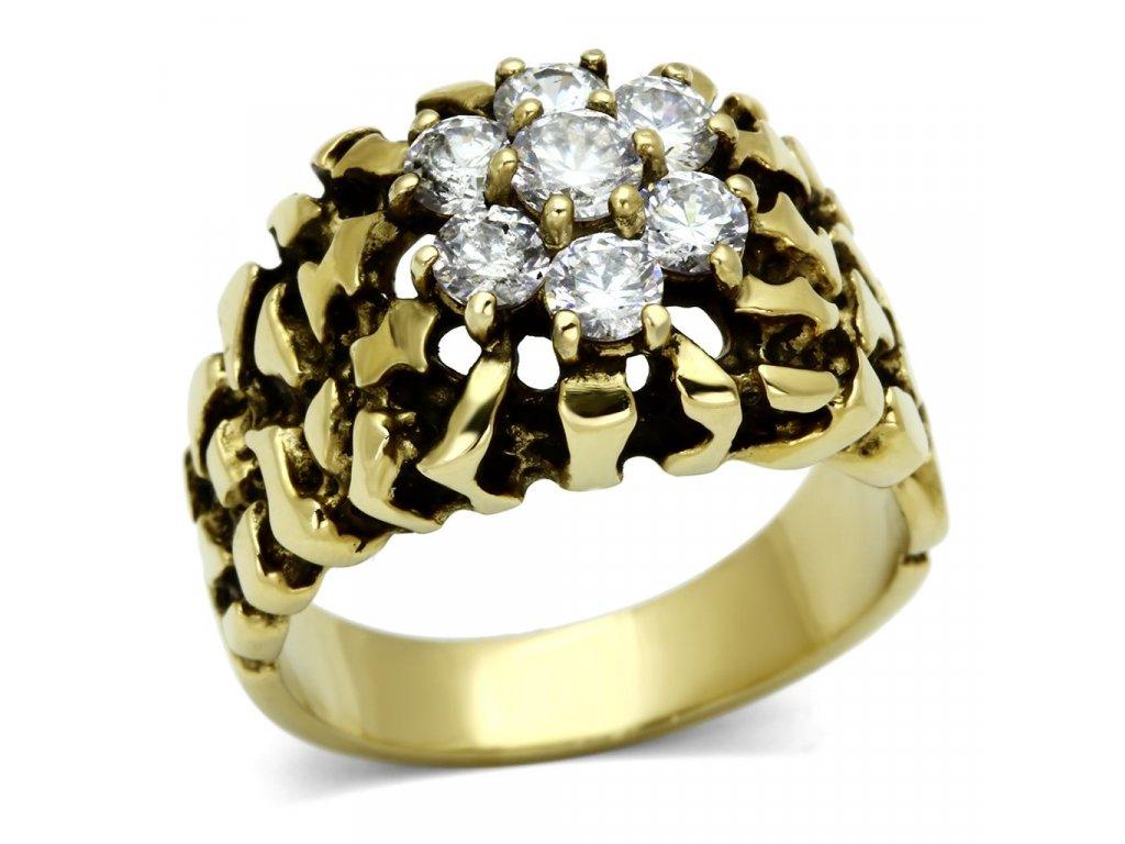 damsky zlaty ocelovy prsten sr0771