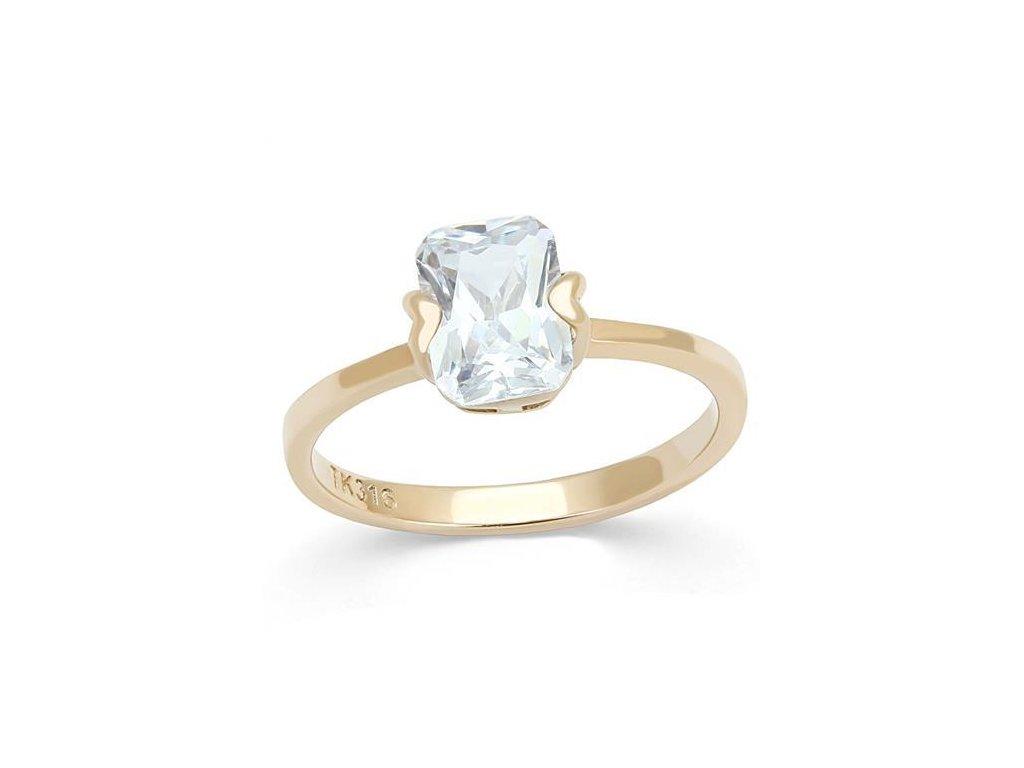 zlaty ocelovy prsten so zirkonom sr3179