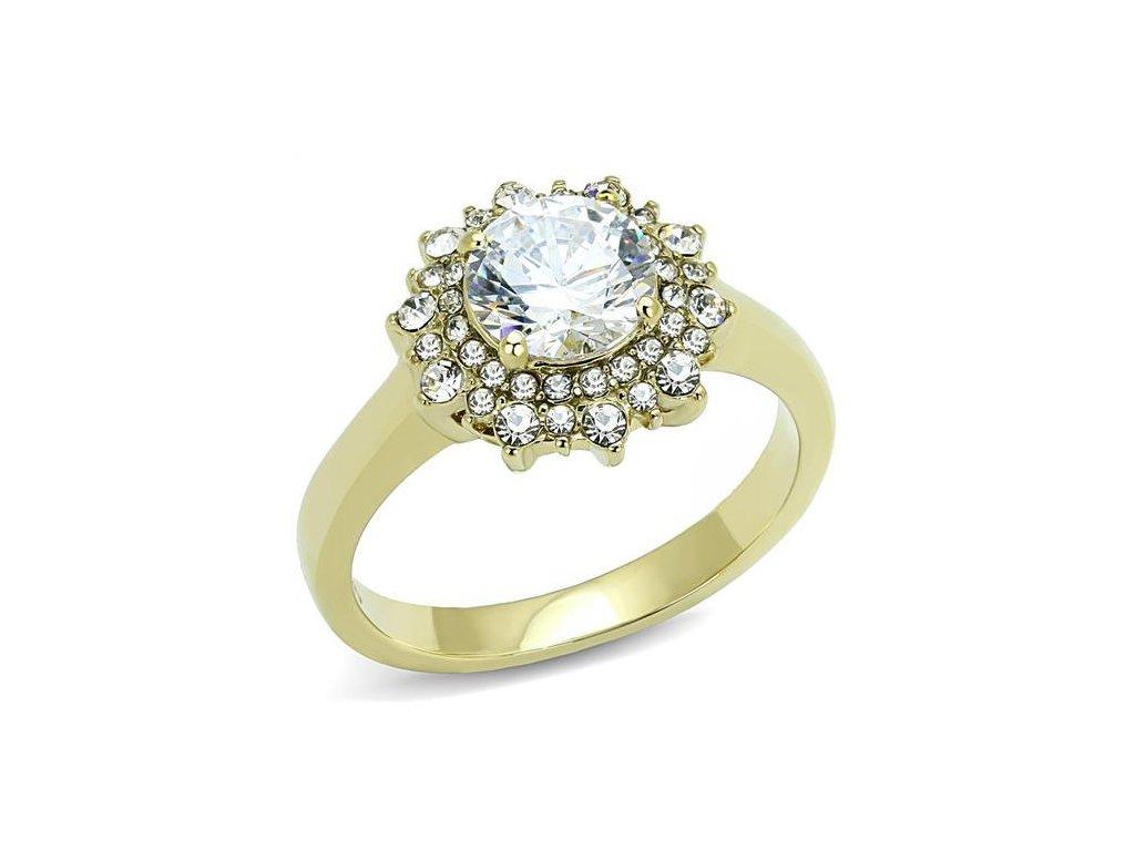 zlaty ocelovy prsten zirkon sr3035