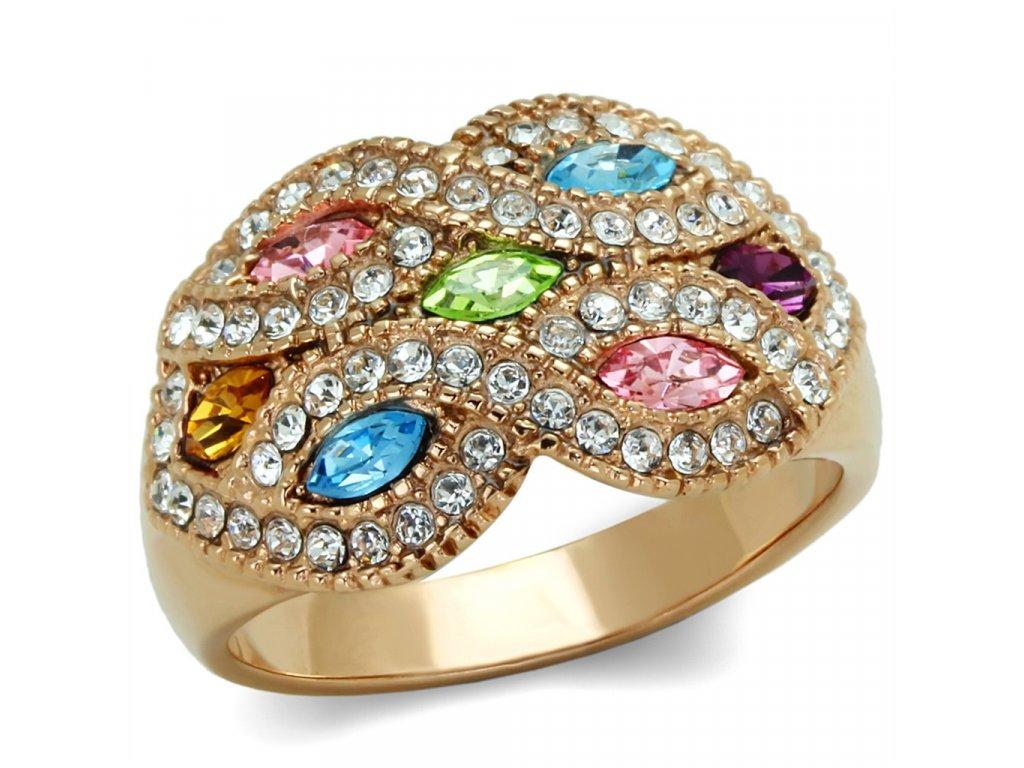 zlaty ocelovy prsten so zirkonom sr1632