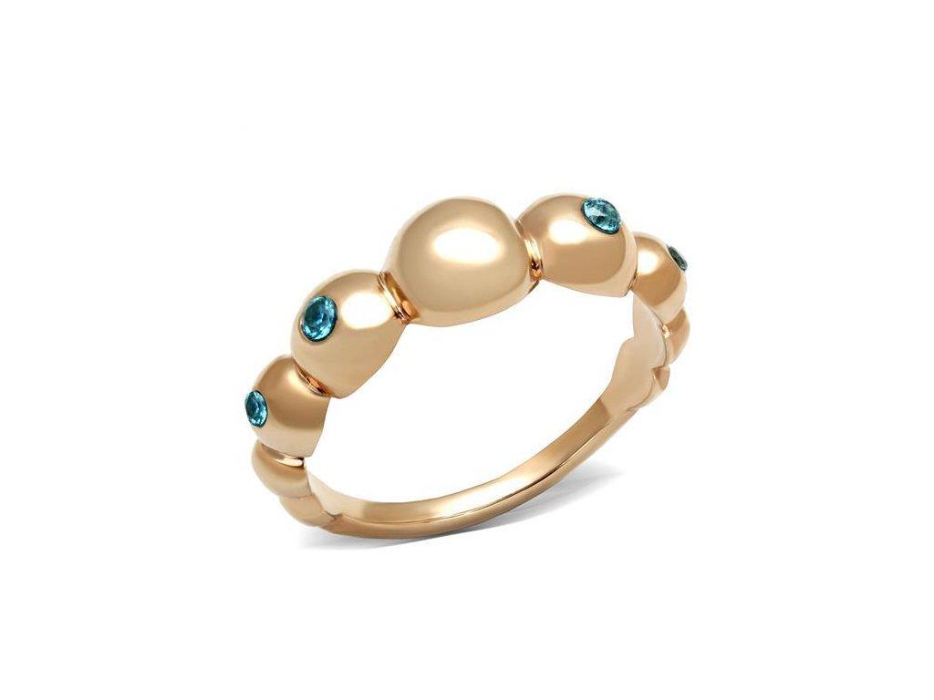 zlaty ocelovy prsten blue sr3088