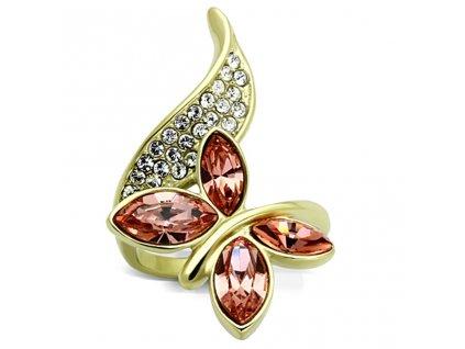 ocelovy zlaty prsten motyl sr1288