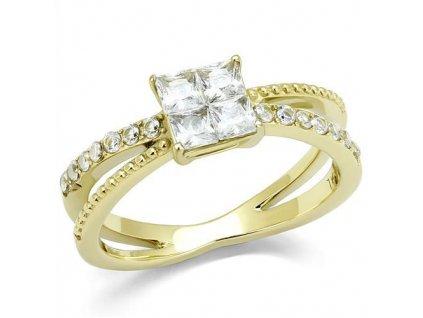 zlaty ocelovy prsten zirkon sr3181