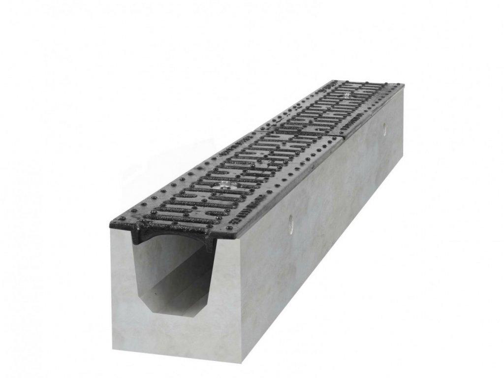 Betonový žlab B125 s litinovou mříží