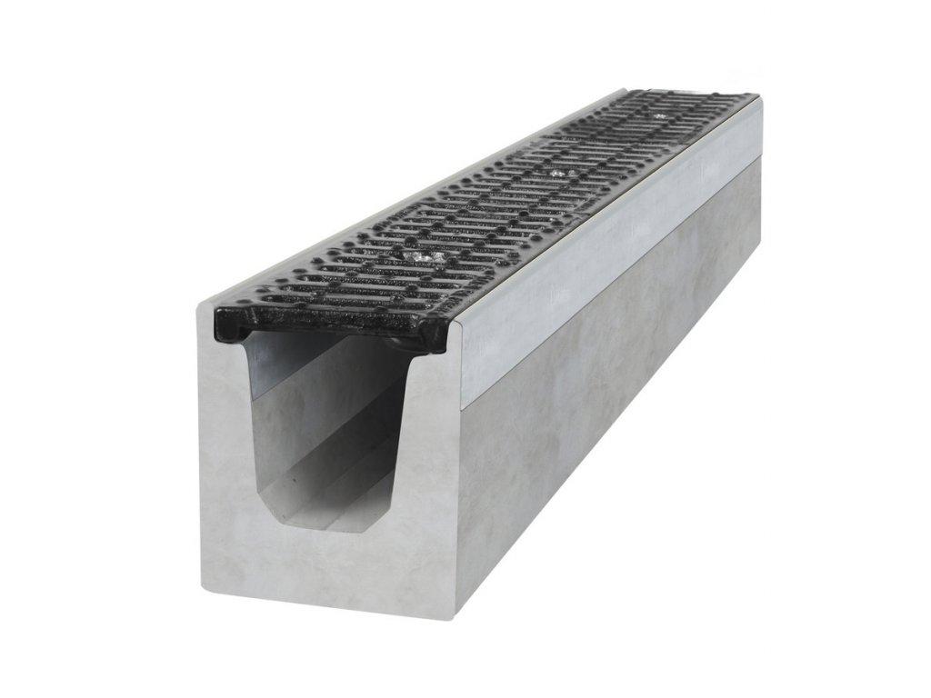 Betonový žlab C250 s litinovou mříží