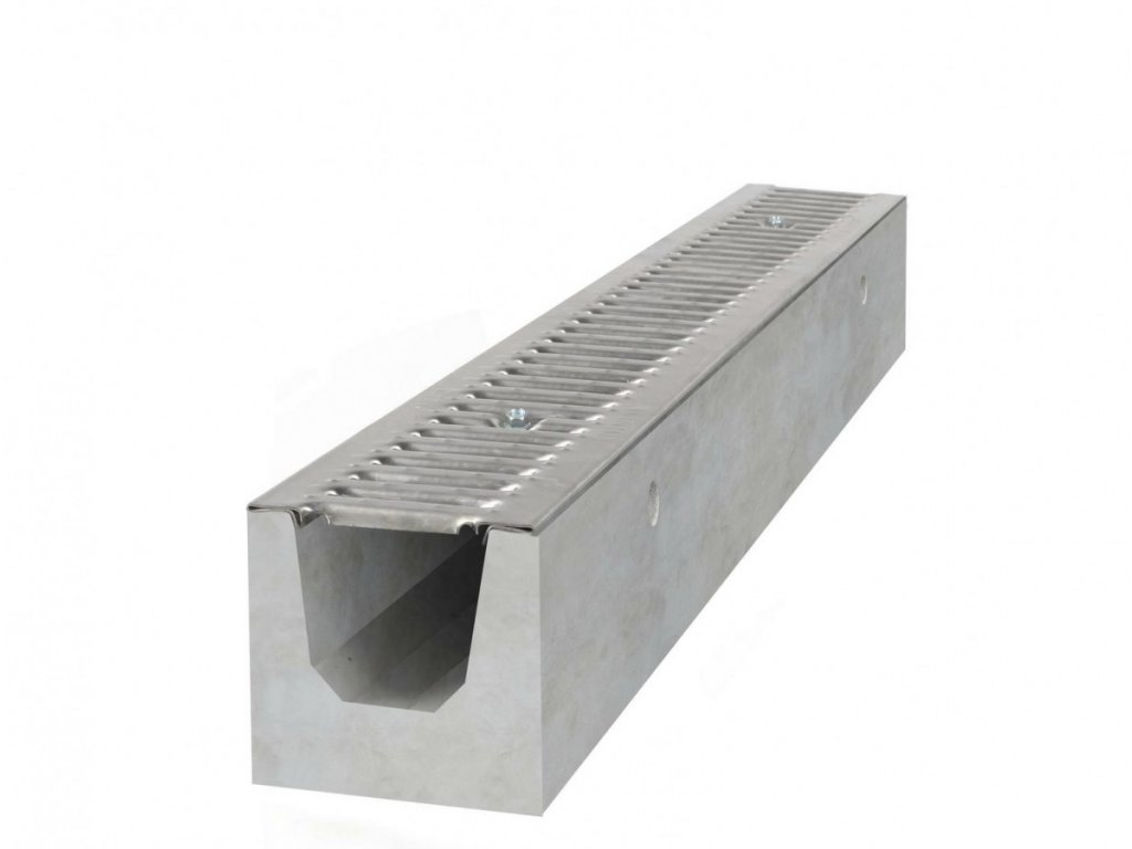 Betonový žlab A15 s pozinkovanou mříží