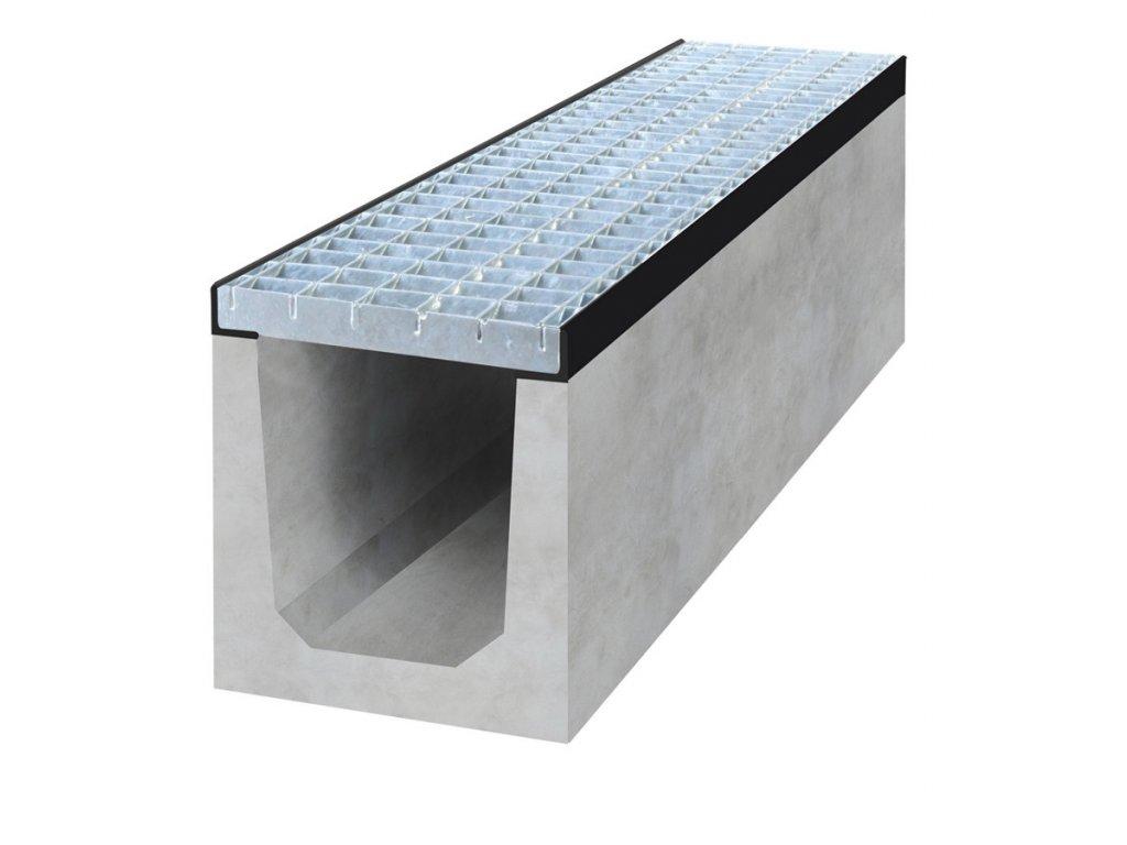 Spádový betonový žlab A15 s pozinkovanou mříží.