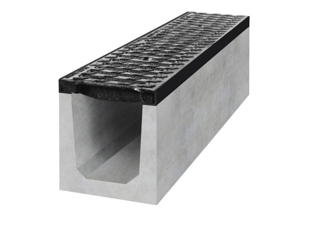 Spádový betonový žlab D400 s litinovou mříží