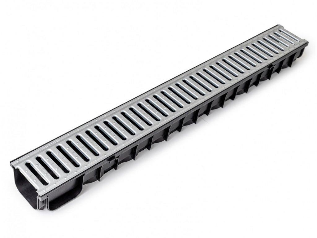 Plastový žlab A15 s pozinkovanou mříží