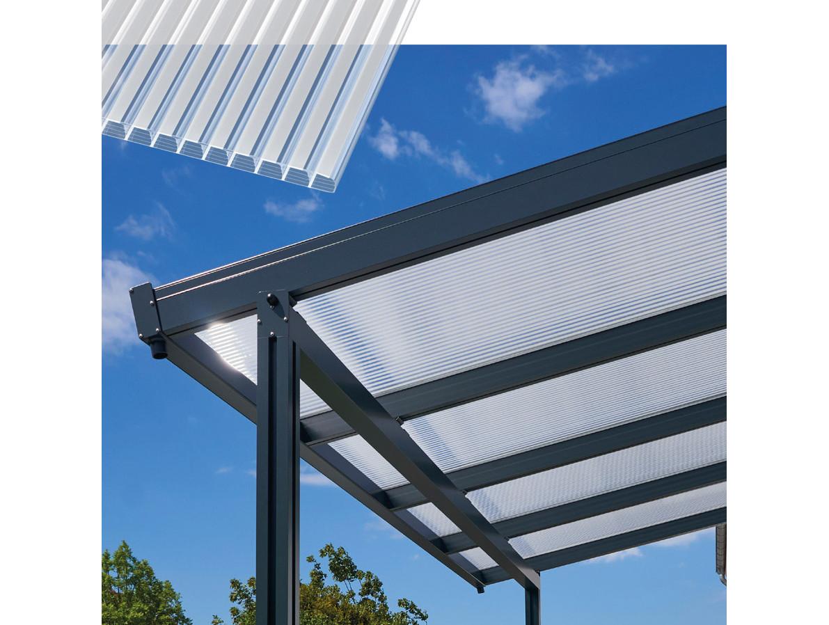 Hliníková pergola Terrassendach Premium - čirý polykarbonát s bílými pruhy / antracitová konstrukce Rozměr: 4,10 x 3,06 m, Varianta: Terrassendach…
