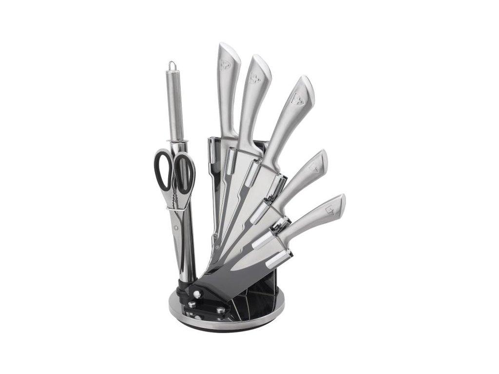 8dílná sada ocelových nožů, sekáčku, nůžek a ocílky Royalty Line RL-KSS600