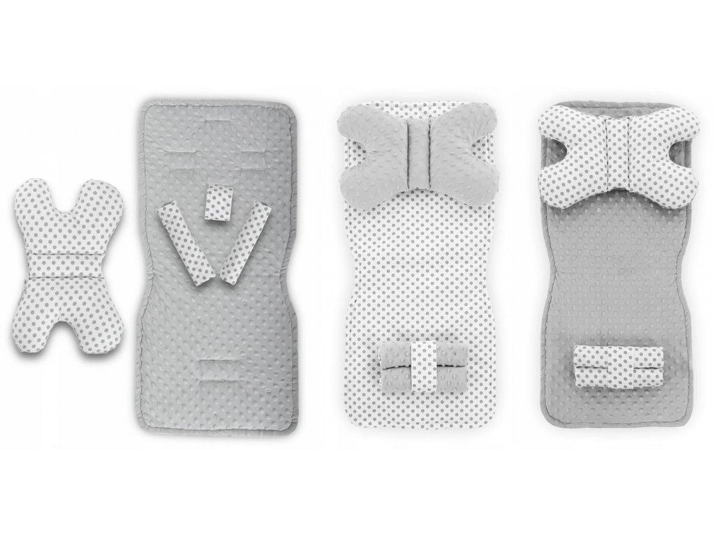 Měkká oboustranná podložka do kočárku 75 x 35 cm - Bílá s šedými tečkami